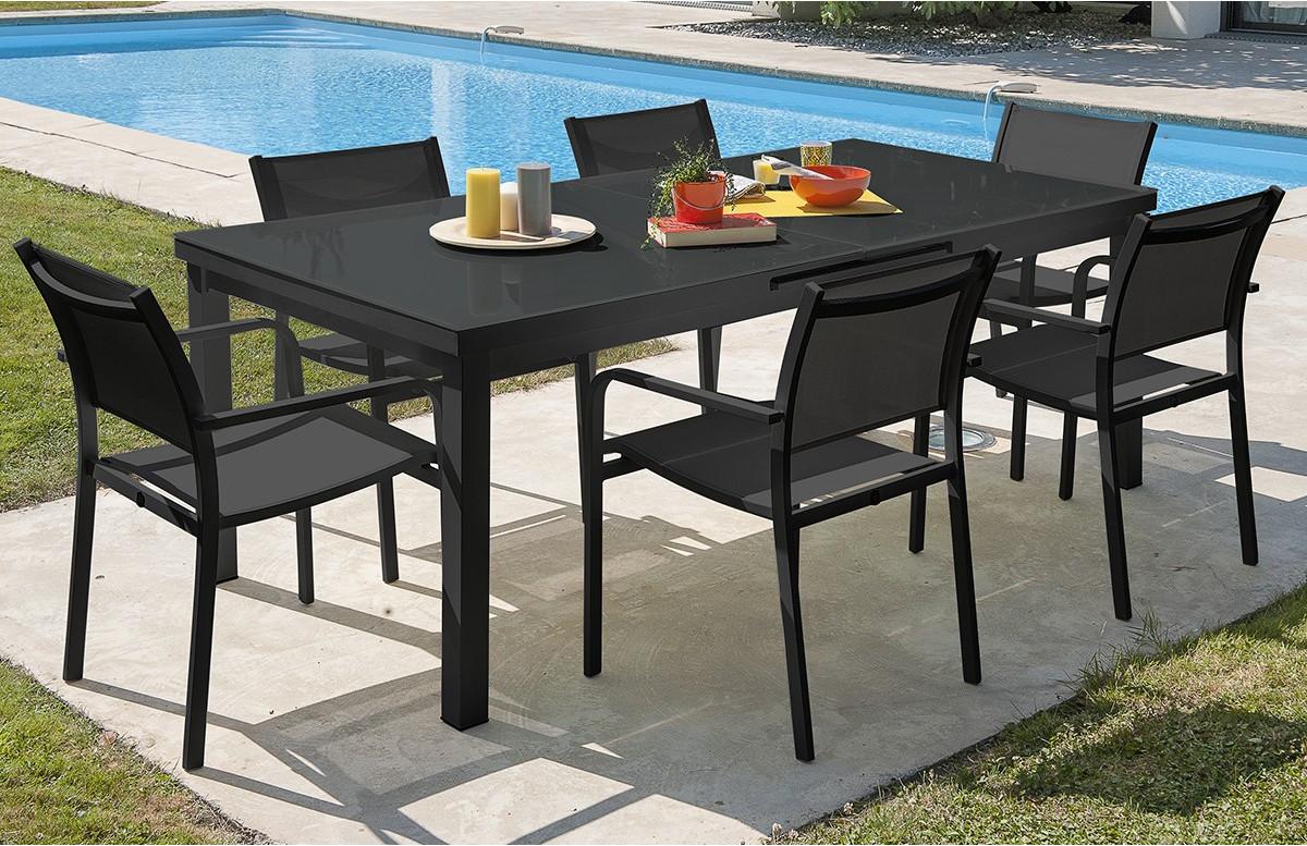 Ensemble table aluminium verre MIAMI + 6 fauteuils