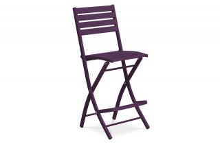 Chaise haute de bar en aluminium AUBERGINE
