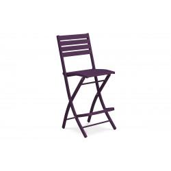 Chaise haute & pliante de salon de jardin en aluminium aubergine MARIUS