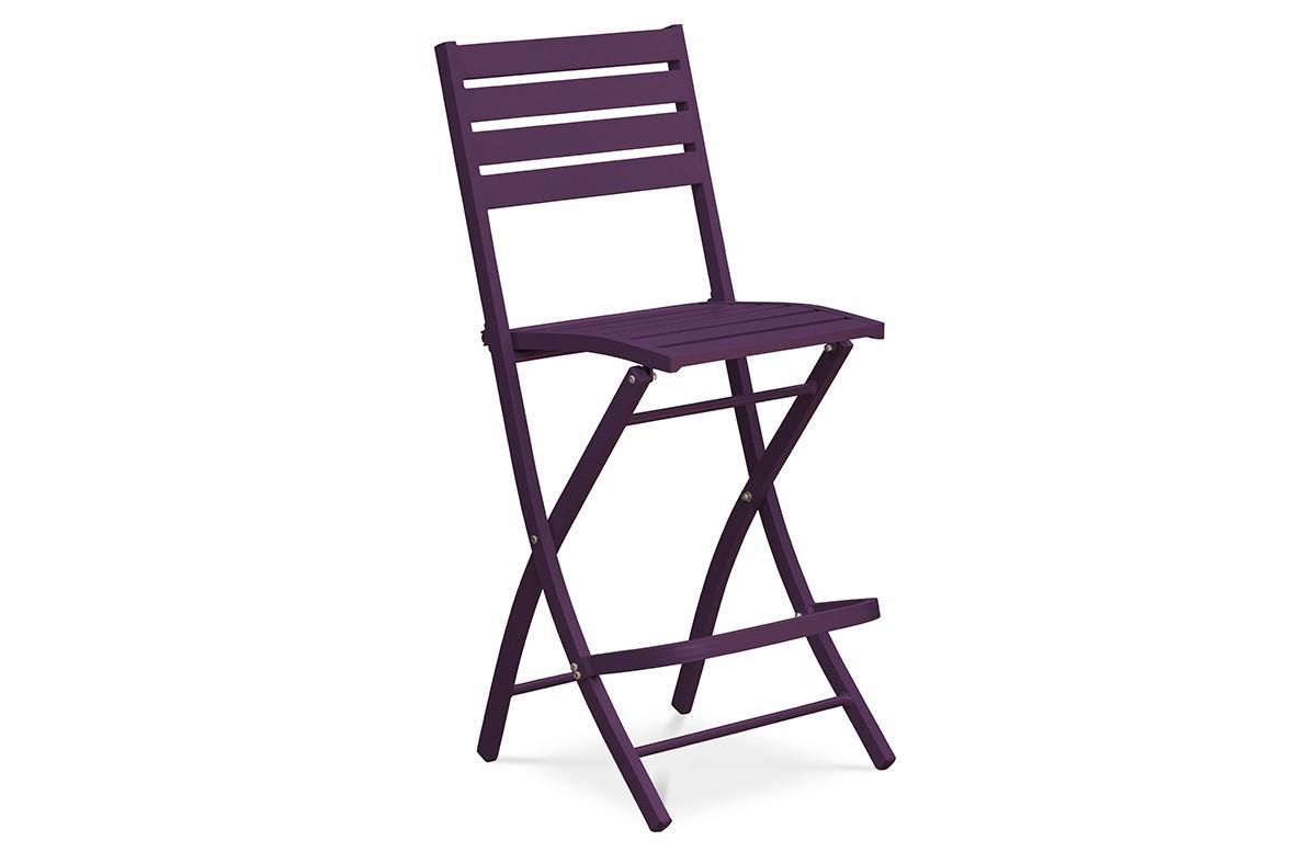 Chaise haute et pliante de salon de jardin en aluminium MARIUS CITY GARDEN