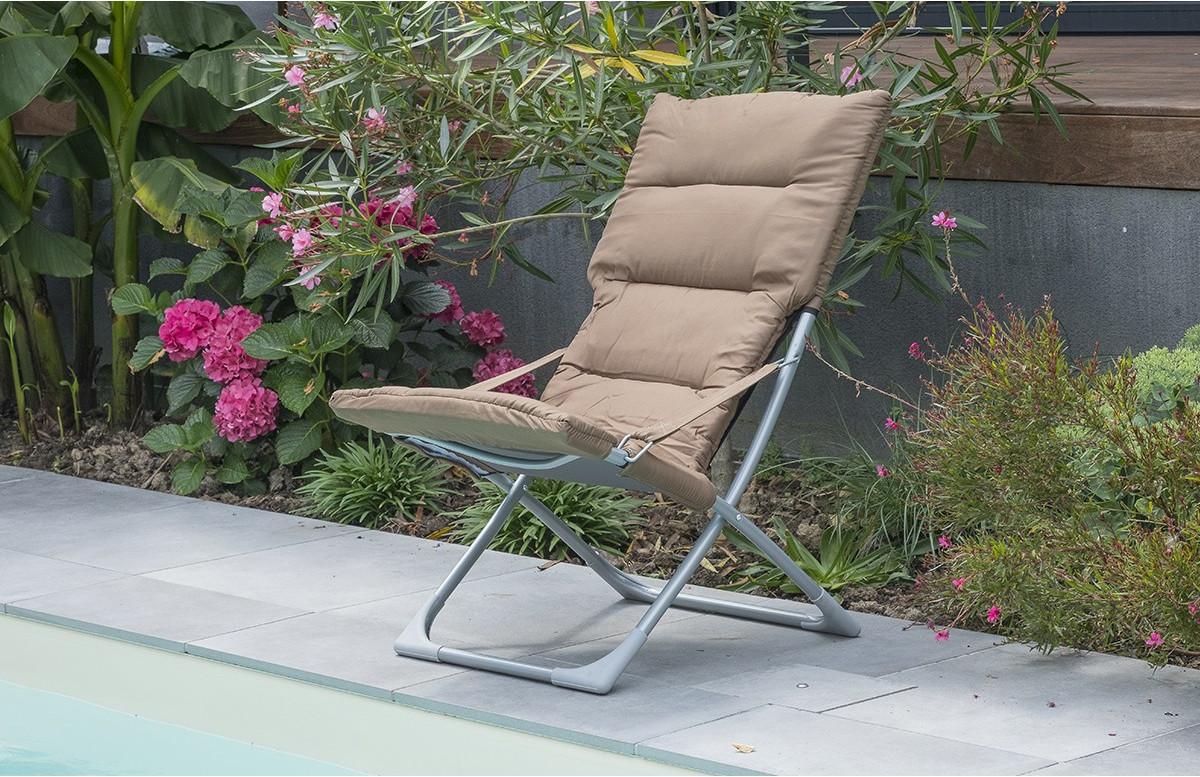 Bain de soleil pliable en acier & textilène taupe DCB Garden