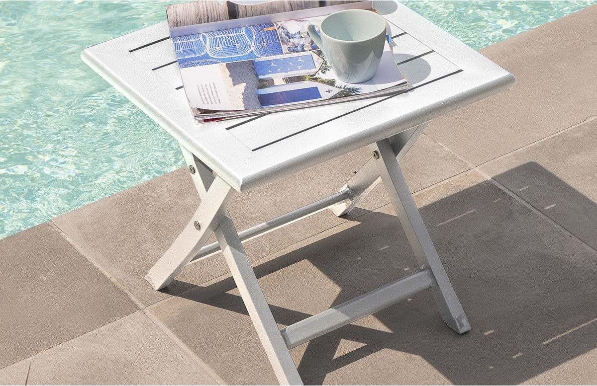 Table basse pliante en aluminium BLANC