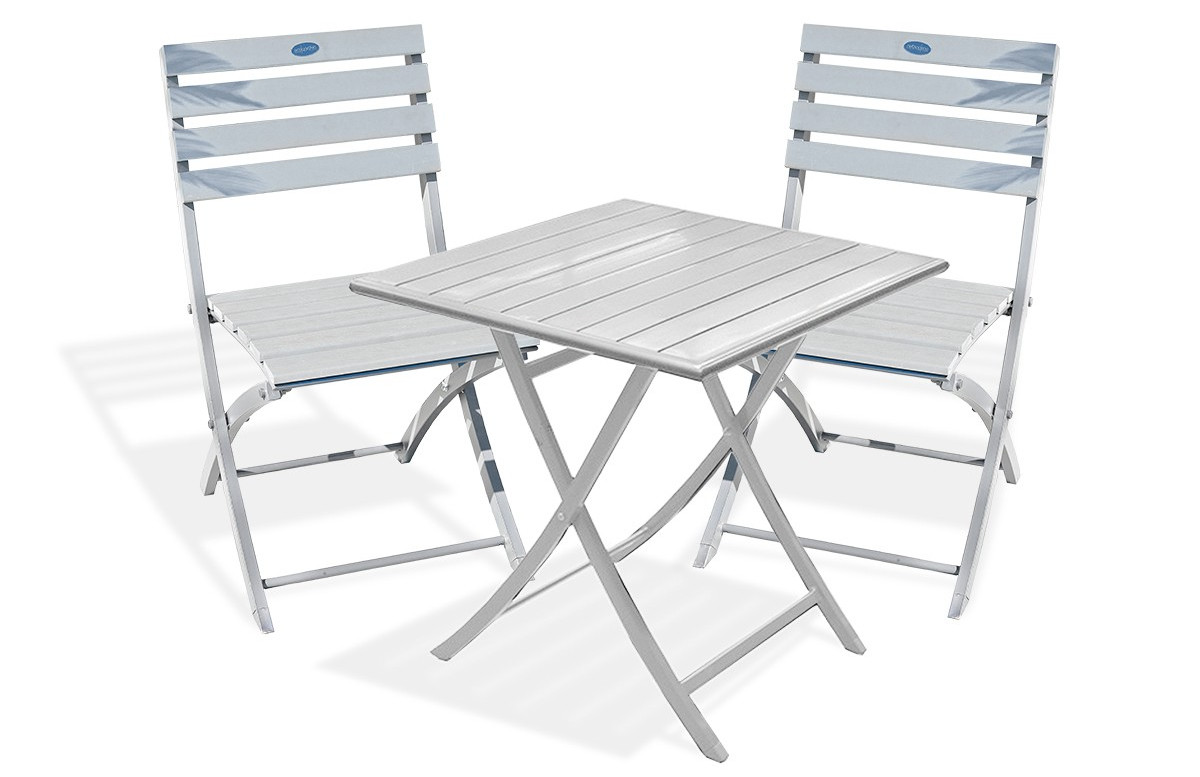 Guéridon pliant gris galet + 2 chaises