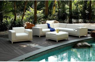 Salon de jardin design bas en textilène Paris Garden 6/8 places crème DUBAI