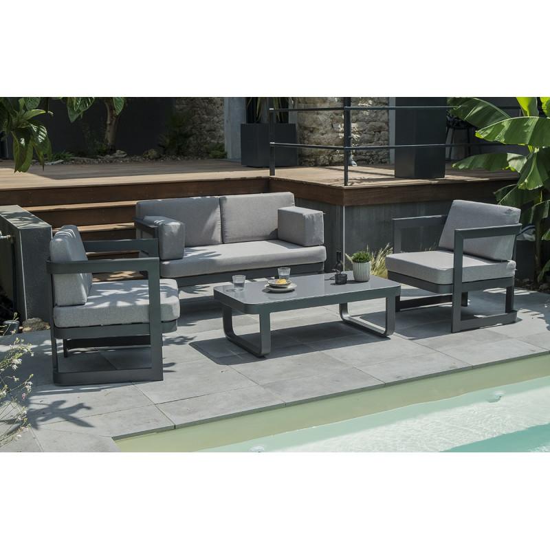 Salon de jardin 4 places en aluminium gris anthracite - Le Rêve Chez ...