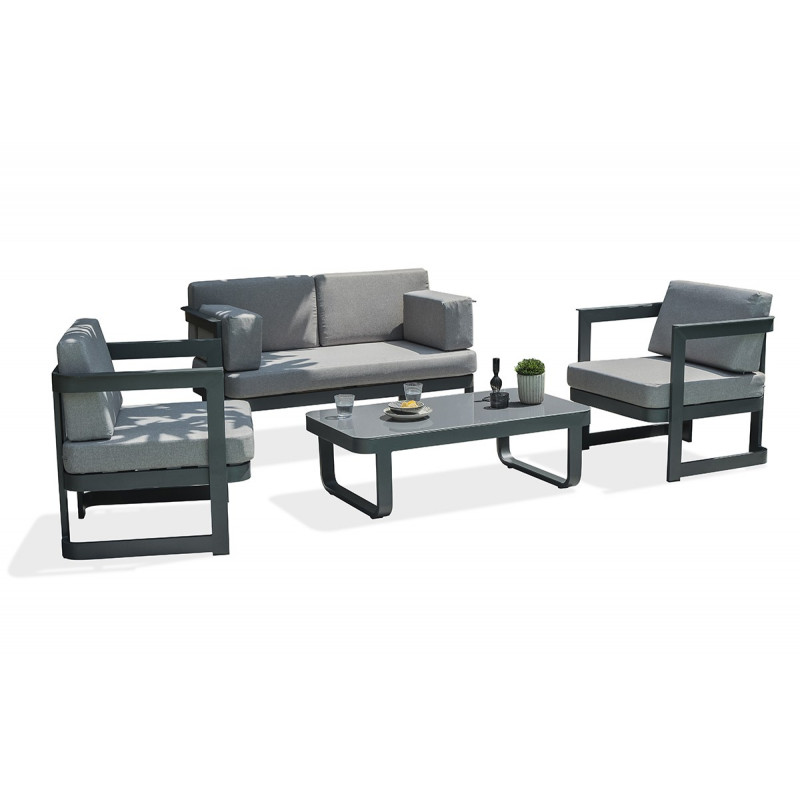 salon de jardin 4 places en aluminium gris anthracite le r ve chez vous. Black Bedroom Furniture Sets. Home Design Ideas