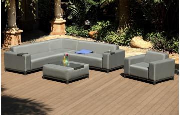 Salon de jardin canapé d'angle en textilène gris