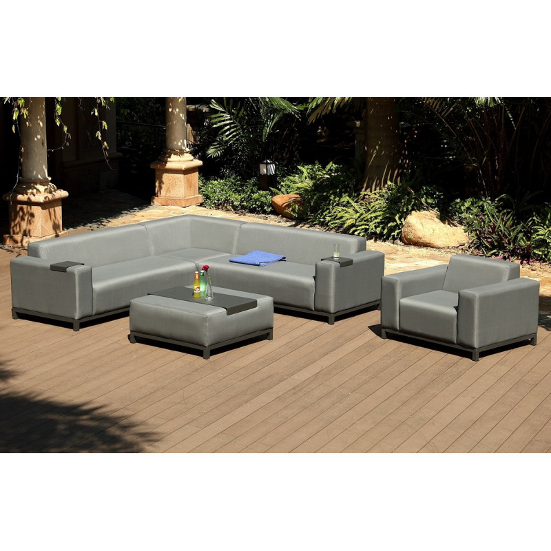 salon de jardin canap d 39 angle en textil ne gris le r ve. Black Bedroom Furniture Sets. Home Design Ideas
