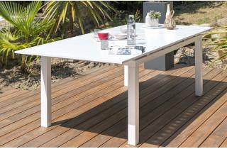 Table alu blanc à rallonge automatique blanche