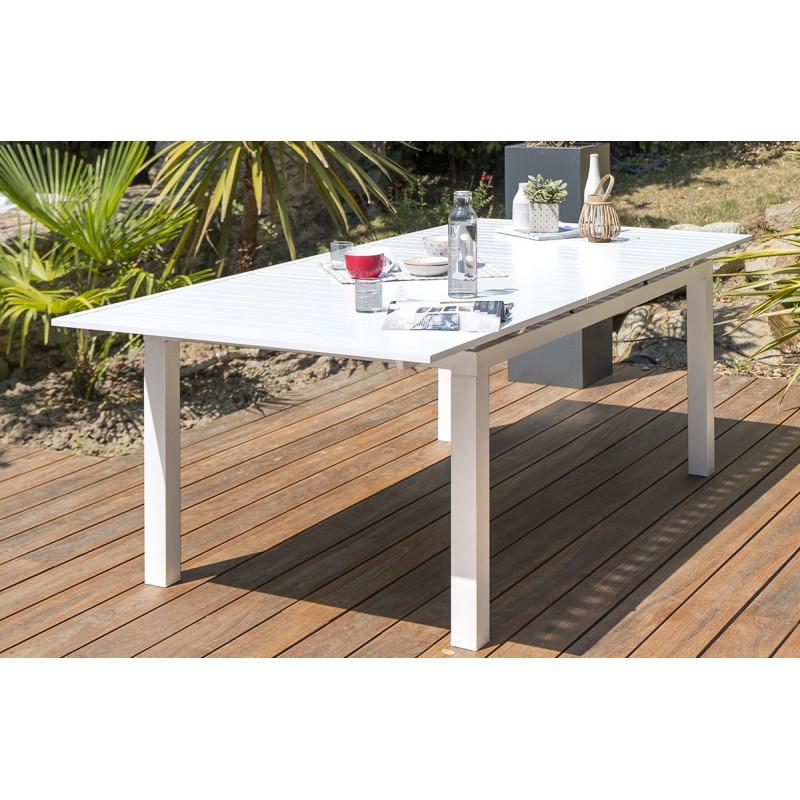 Table Alu Blanc A Rallonge Automatique Blanche Le Reve Chez Vous