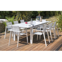 Ensemble table aluminium blanc et 6 fauteuils assortis