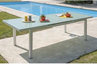 Table alu blanc et plateau verre