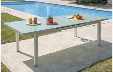 Table de jardin extensible en aluminium blanc et plateau verre pour 8 personnes DCB Garden MYKONOS