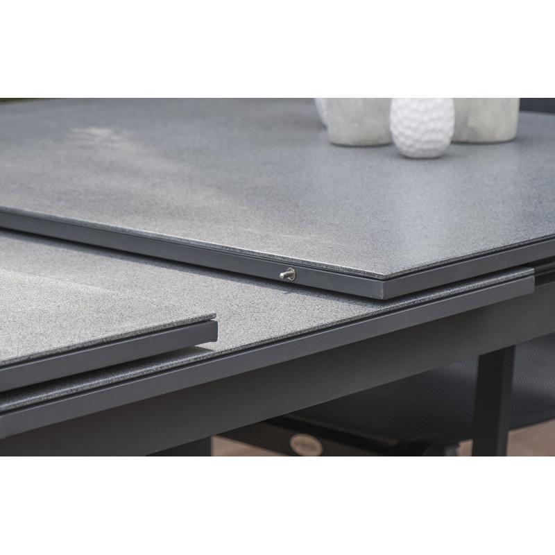 Table à rallonge plateau verre finition granit - Le Rêve ...