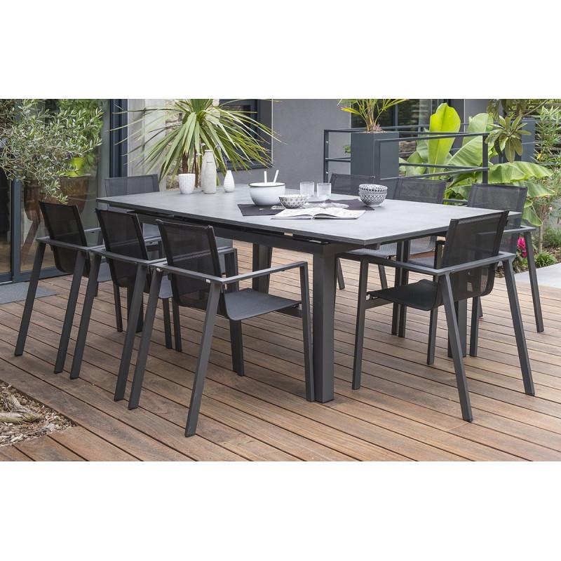 ensemble table et chaises de jardin avec rallonge