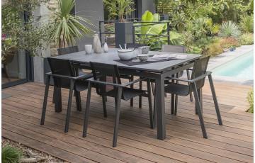 Ensemble table à rallonge plateau verre finition granit + 6 fauteuils