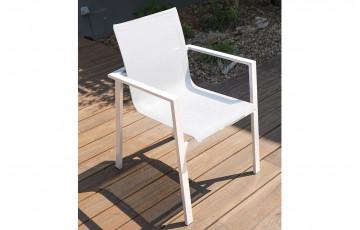 Fauteuil salon de jardin en aluminium DCB Garden blanc MYKONOS