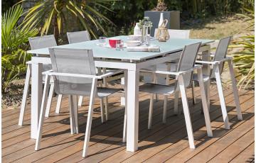 Ensemble table et chaises de jardin en aluminium + plateau verre 6 personnes DCB Garden blanc