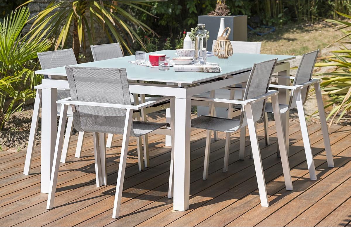 Ensemble blanche table à rallonge plateau verre + 6 fauteuils