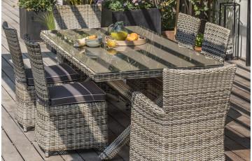 Ensemble table et chaises de jardin pour 6 personnes en résine tressée DCB Garden BALI
