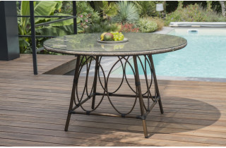 Table salon de jardin ronde 6 personnes en imitation bambou DCB Garden USHUAIA