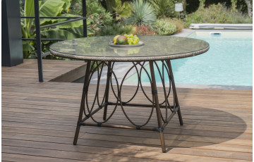 Table salon de jardin ronde 6 personnes en aluminium DCB Garden USHUAIA