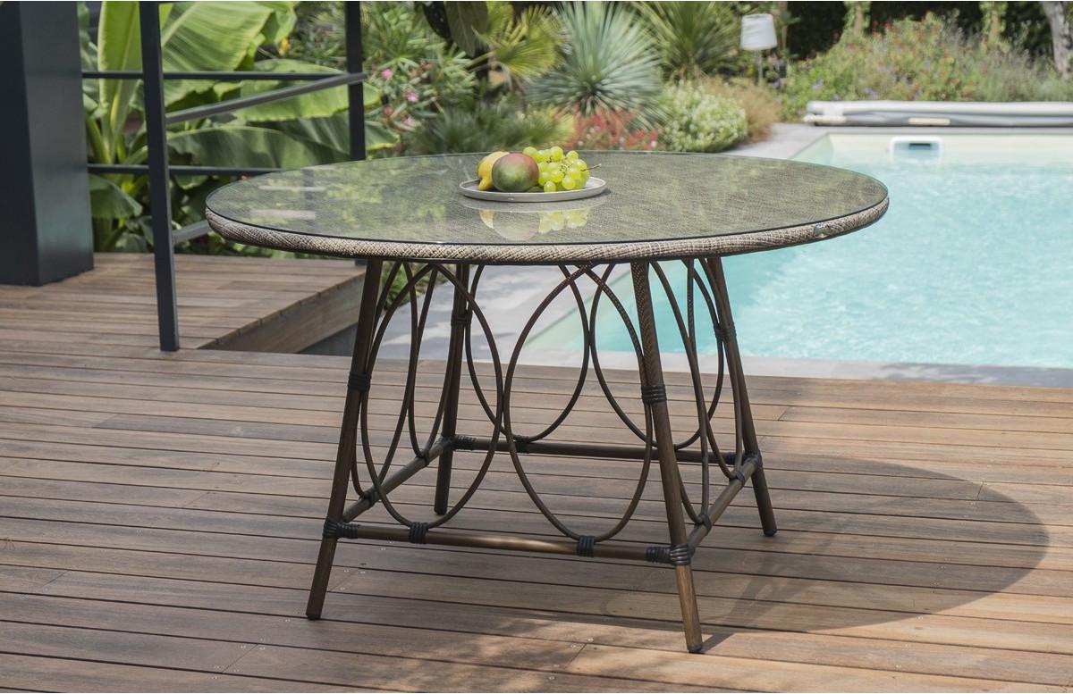 Table salon de jardin ronde 4 personnes en imitation bambou DCB Garden USHUAIA