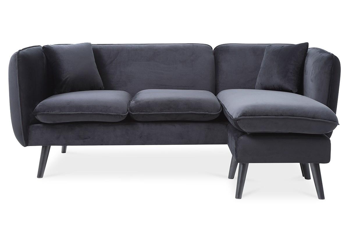 Canapé d'angle modulable DOLLY noir