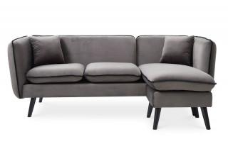 Canapé d'angle modulable en tissu gris DOLLY