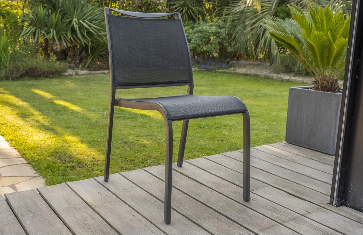 Chaise textilène MADRID coloris noir