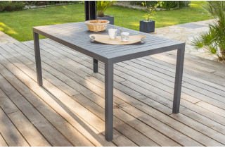 Table salon de jardin 6 personnes en aluminium anthracite DCB Garden MIAMI