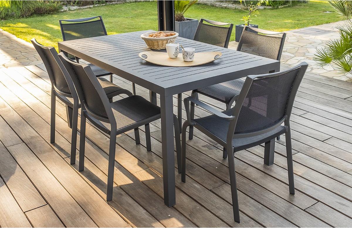 Ensemble table fixe MIAMI 160 cm + 4 chaises et 2 fauteuils