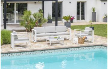 Salon de jardin design bas en aluminium Paris Garden 5 places blanc STRAPHAEL