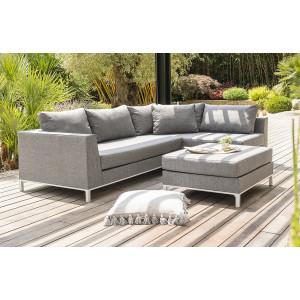 Salon de jardin CASABLANCA en tissu gris - Le Rêve Chez Vous