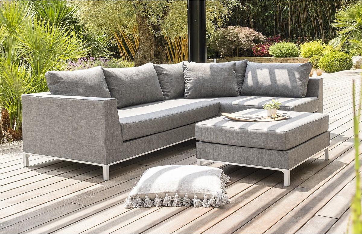 Salon de jardin CASABLANCA en tissu gris