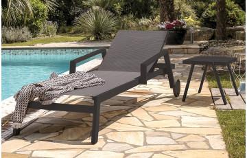 Chaise longue IBIZA coloris noir