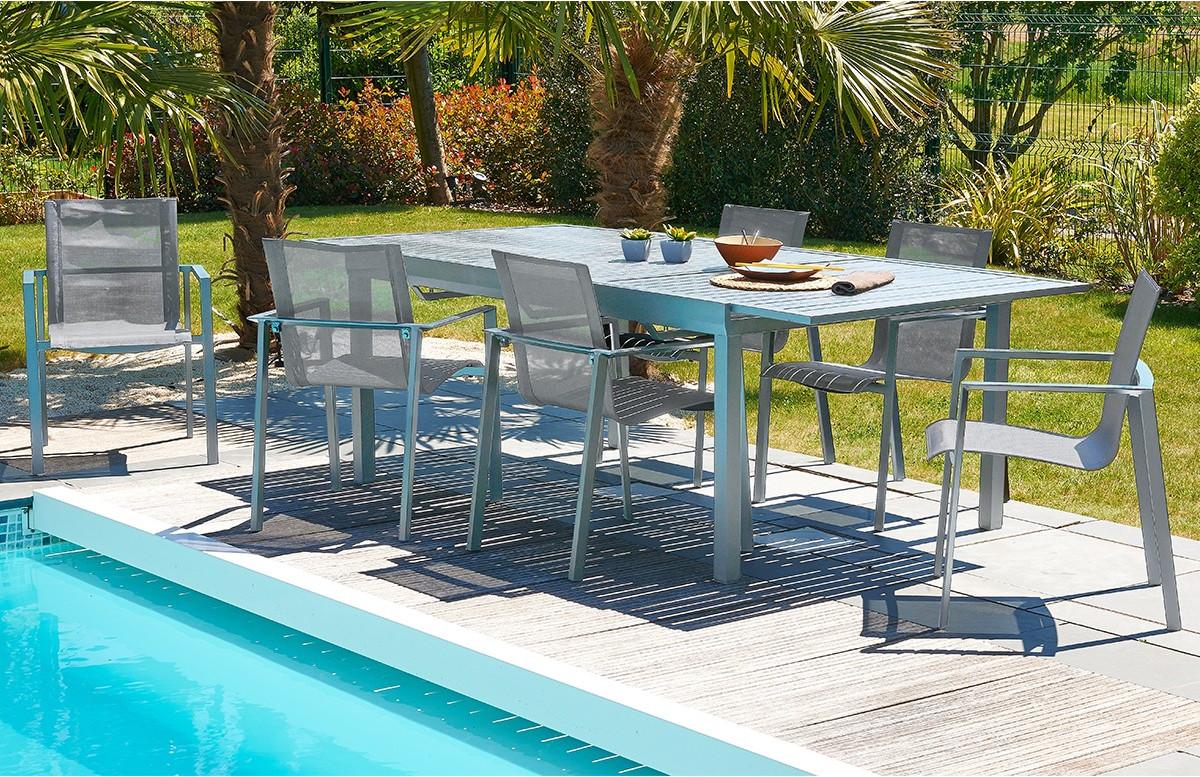 Table aluminium 10-12 places à rallonge papillon coloris gris galet