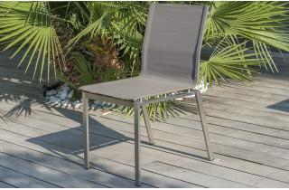 Chaise salon de jardin en inox et textilène Paris Garden taupe TORINO