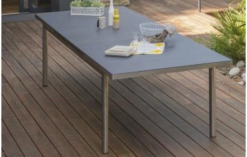 Table inox PALERMO plateau verre 240/300 cm