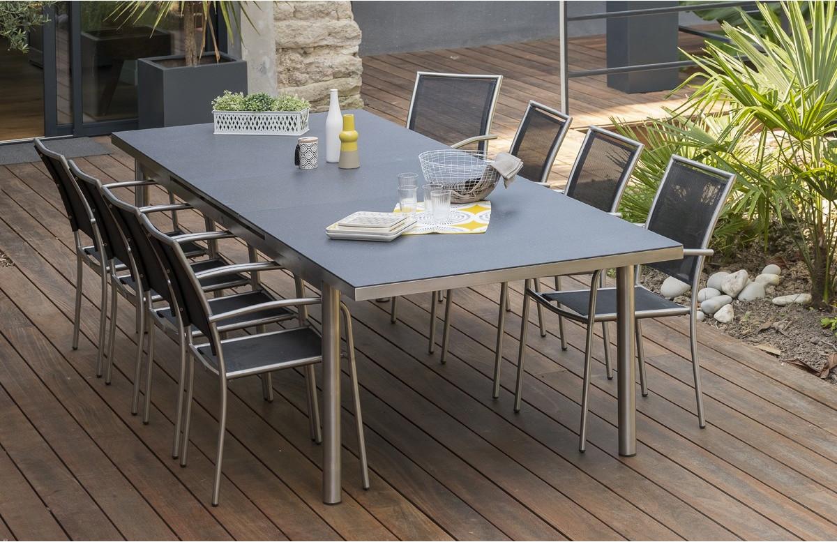 Ensemble PALERMO plateau verre 240/300 cm + 8 fauteuils