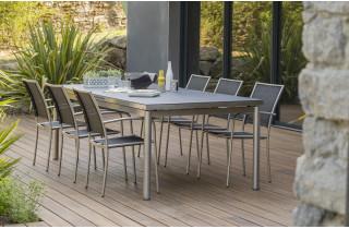 Ensemble table et chaises de jardin pour 6 personnes en inox & spraystone PALERMO Paris Garden