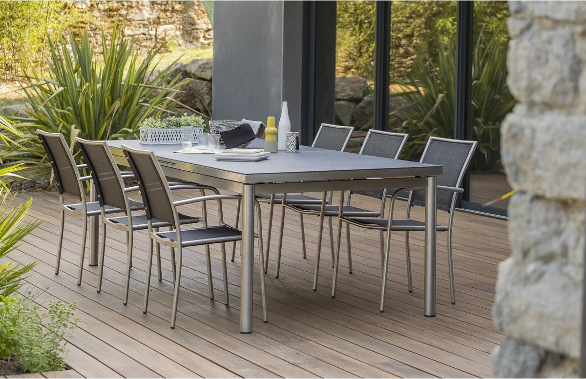 Table inox PALERMO plateau spraystone 180/240 cm