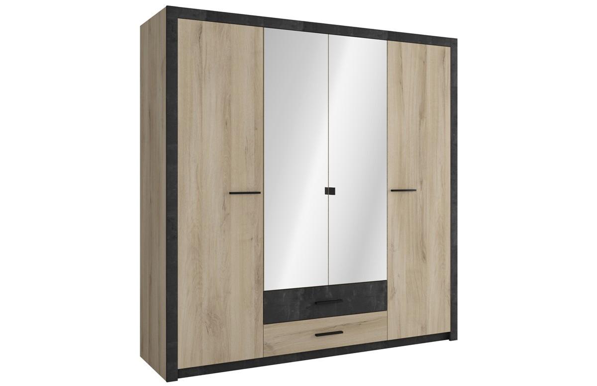 Armoire COLORADO 4 portes et 2 tiroirs