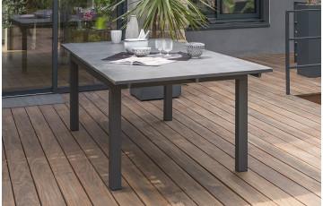 Table à rallonge plateau verre 300 cm finition granit