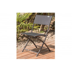 Chaise pliante en aluminium et textilène noir