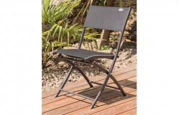 Chaise salon de jardin pliante en aluminium noir DCB Garden