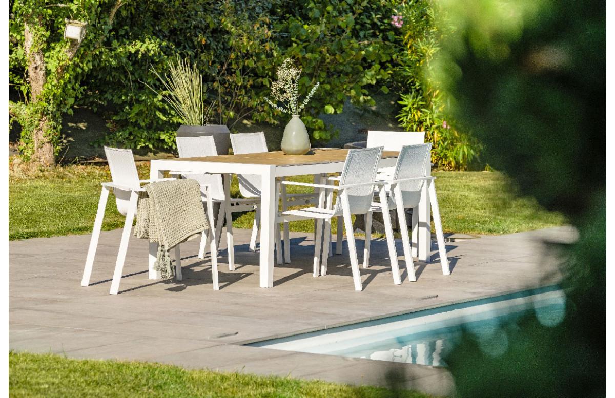 Ensemble table et chaises de jardin en aluminium 6 personnes DCB Garden blanc HELSINKI
