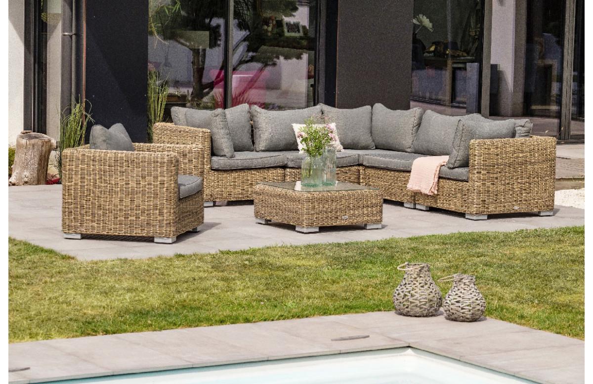 Salon de jardin design bas en résine tressée Paris Garden 6 places MONTMARTRE