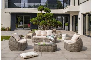 Salon de jardin : banquette 3 places + 2 fauteuils et 1 table basse