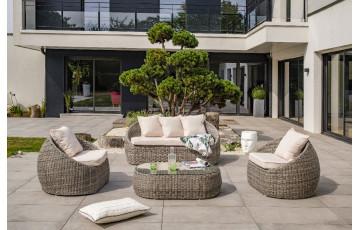 Salon de jardin design bas en résine tressée DCB Garden 5 places écru ISA